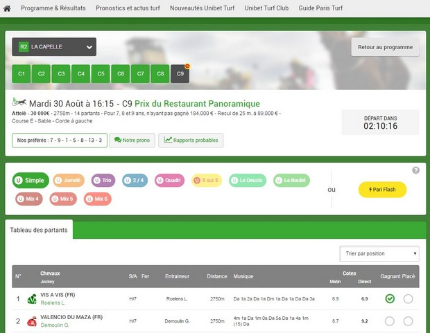 bonus turf de 20 euros cash sur Unibet.fr