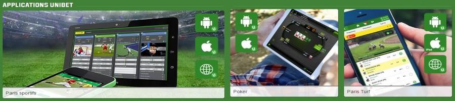 Unibet mobile sur android et sur ipad