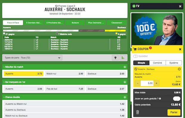 Valider un pari sur Unibet.fr