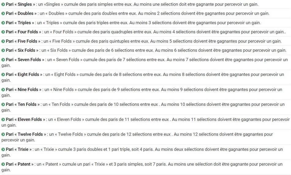 22 paris systeme existent sur unibet.fr