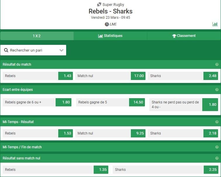 Misez sur le résultat des matchs de rugby sur Unibet