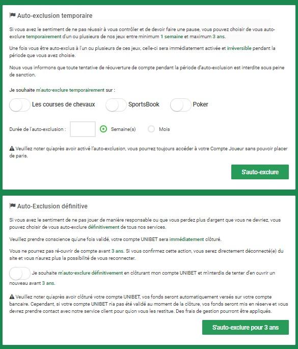 Unibet.fr auto-exclusion de la plateforme