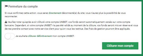Fermer un compte Unibet simplement
